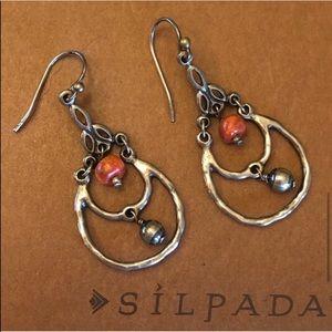 Silpada Coral Chandelier Sterling Silver Earrings